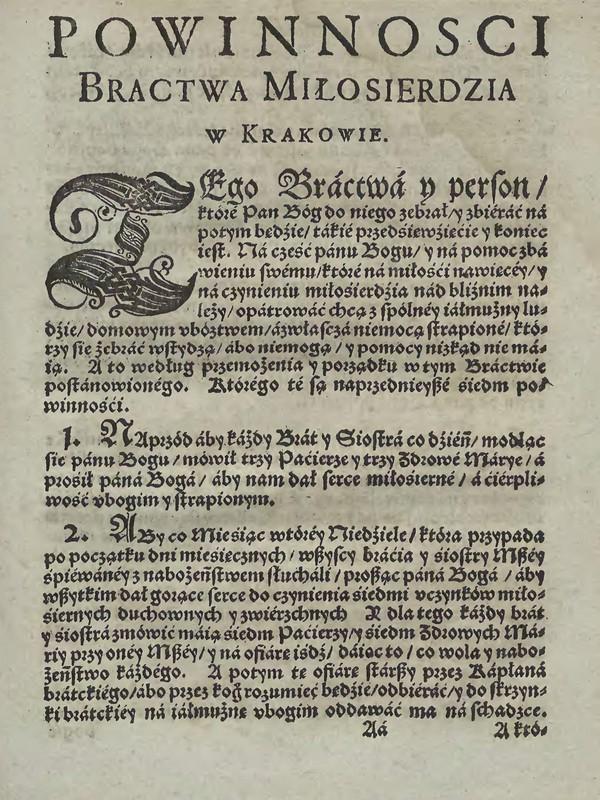 Powinności 1. Bractwo Miłosierdzia w Krakowie u Ś.Barbary 1598 [Małopolska Biblioteka Cyfrowa]