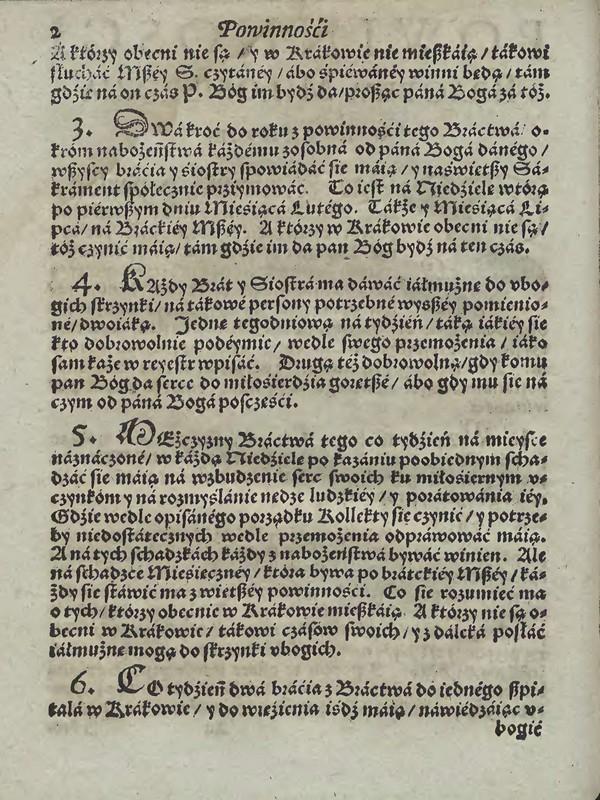 Powinności 2. Bractwo Miłosierdzia w Krakowie u Ś.Barbary 1598 [Małopolska Biblioteka Cyfrowa]